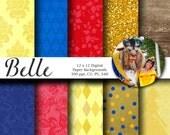 Belle Digital Scrapbook Paper - Disney Princess Paper - Disney Digital Scrapbook Paper - Instant Download