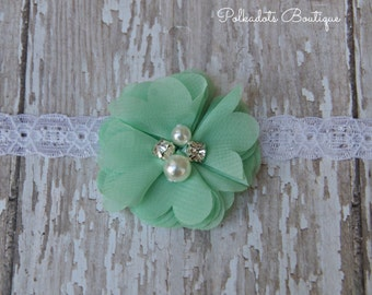 Mint Green Flower Newborn Headband Infant Preemie Headband New Baby Gift Preemie Lace Headband Mint Shabby Chic Headband