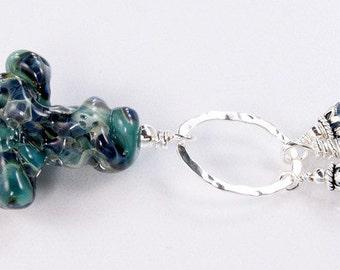 SALE****Lampwork Necklace - Lampwork Cross Sterling Silver Wire Wrapped Swarovski Necklace - KTBL
