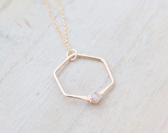 Herkimer Diamond Necklace , Hexagon Geometric Pendant in Gold Filled , Rose Gold , Sterling Silver , April Birthstone - Refraction