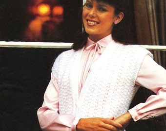 "Vintage Ladies Waistcoat (Sizes 30.1/4""-43"" - 76-109cm) Knitting Pattern, 1960/1970 (PDF) Pattern, Studley 1046"
