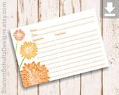 Recipe Cards, Flower, Dahlia, Garden, Bloom, Blossom, Orange, Tangerine, Green, Digital File, Download, Printable, Cooking, Kitchen, Food