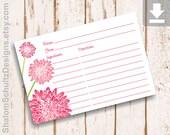 Recipe Cards, Flower, Dahlia, Garden, Bloom, Blossom, Pink, Blush, Hot, Green, Digital File, Download, Printable, Cooking, Kitchen, Food