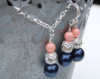 Navy and Pink Coral Pearl Wedding Jewelry Set Bridesmaid Jewelry