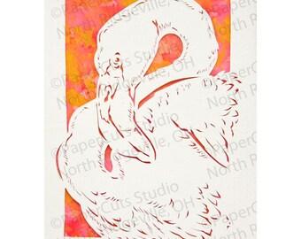 Flamingo ACEO Papercutting, Handmade Original