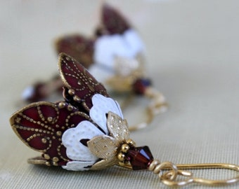 Long Dangle Drop Burgundy brass flower earrings, Anniversary Gift For Women, Romantic, Gift Idea For Her  Gift For Wife, Gift For Girlfriend