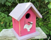 Primitive Birdhouse Chickadee Wren Cute Songbirds Rusty White Painted Rooster