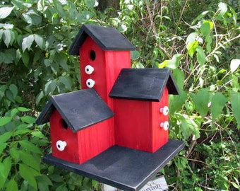 Primitive Country Condo Birdhouse Red and Black Three Nesting Boxes