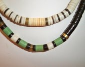 Tribal Choker Necklaces Vintage Black with Green Heishi Beads and White with Brown Heishi Beads