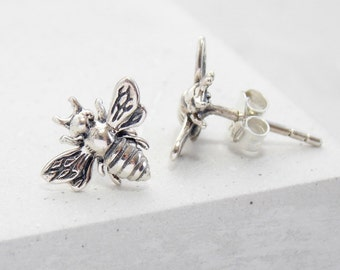 Stud Earrings | Bee Earrings, Bee Stud Earrings, Bee Studs, Post Earrings, Small Stud Earrings, Post Earring, Earring Studs, Sterling Silver