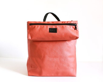 Orange saffiano faux leather Backpack Travel bag stylish handmade designer everyday use backpack iPad padded pocket