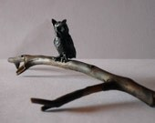 Tiny  3/4 inch Pewter Owl Figurine Mounted on a Twig