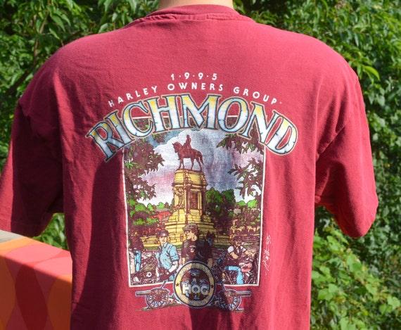 Vintage harley davidson t shirt 1995 richmond hog rally biker for T shirt printing richmond va