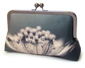 Clutch bag, silk purse, blue black taupe bag, woodland wedding, flower petals, INKY BLOOMS