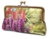 Hot pink flowers, clutch bag, silk purse, bridesmaid clutch, summer garden blooms
