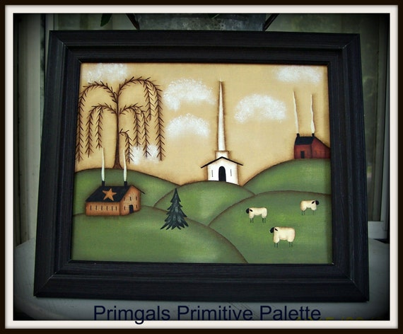 Primitive Church Saltbox Willow Tree Framed 8x10 Folk Art