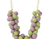 Sherbert Pastel Clustered Statement Necklace - lucite bauble on chain necklace