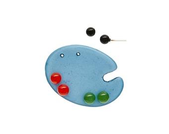 Blue Paint Palette Stud Earrings Set - Lucite Post Earrings - Color Story Accessories Palette