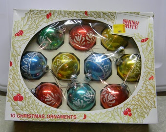 Shiny Brite Christmas ornaments Set of 10