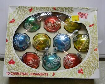 Shiny Brite Christmas ornaments Set of 10