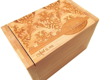 Engraved Recipe Box - Damask Design - Bamboo Recipe Box - Custom Personalized