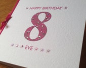 Sparkle Birthday Card for Bling Bling Girls with Diamanté Accents and Personalised with Name