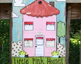 Little Pink Houses for you & me. Original Paper Pieced Collage. 18x24