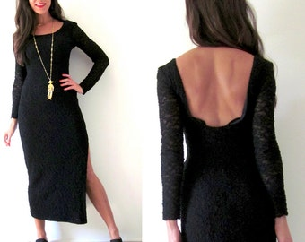 Vintage 90s Black Lace Low Back Bodycon Maxi Dress (size small, medium)