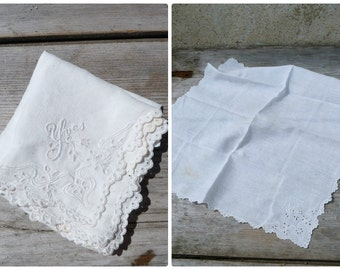 Vintage Antique 1900 French handmade withe cotton embroidered hankerchief