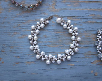 Fabulous 50's vintage style Bracelet with swarovski pearl, crystal double row intertwined with rhinestones