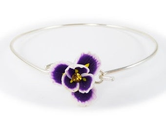 Purple Iris Bracelet Sterling Silver Bangle - Iris Flower Jewelry, February Birthday Birth Flower