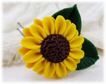 Realistic Sunflower Leaf Hair Clip Pin