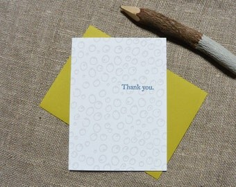 Letterpress Greeting Card - Thank You Card - Blueberry Illustration Pattern - EGI-357