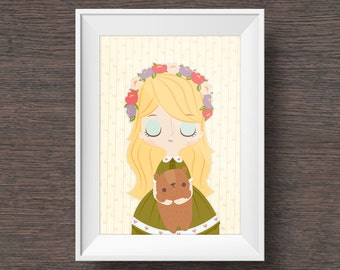 Goldilocks and Baby Bear: Children's Artwork, Wall Art, Nursery Decor