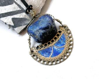 Lapis Lazuli Pendant Amulet Healing Stones Ethnic Tribal Jewelry Wire Wrapped Vintage Afghani Metal Work