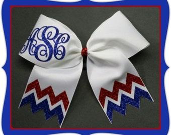 "3"" Customized Chevron Glitter Monogram CheerBow or Softball Bow by No Bow No Go!"