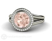 Halo Split Shank Morganite Engagement Ring Morganite Ring Woven Diamond Halo Custom Fine Jewelry Gemstone Ring