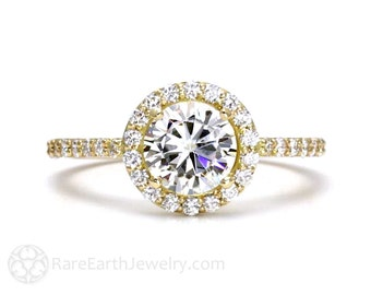 Moissanite Engagement Ring Moissanite Ring Halo 14K Conflict Free Forever Brilliant Diamond Alternative Wedding Ring