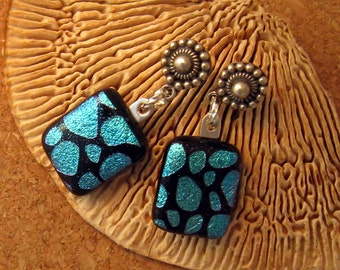 Turquoise Dichroic Earrings -  Fused Glass Earrings - Dichroic Jewelry - Fused Glass Jewelry - Post Earrings