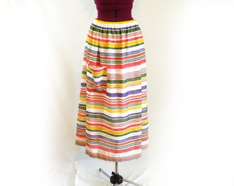 Upcycled Skirt, One of a Kind, Made from Vintage, 1960s, 70s, Striped Semi-Sheer Cotton Blend, with attached vintage slip, Beach or Everyday