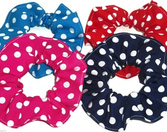 4 Polka Dots Hair Scrunchies by Sherry Scrunchie Red Pink Navy Blue Turquoise  Ponytail Holders Ties