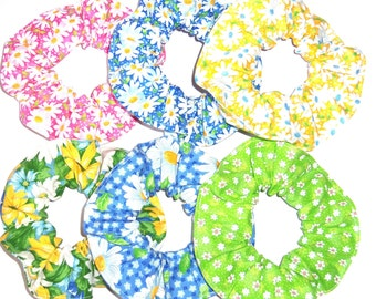 Daisy Daisies Hair Scrunchie Yellow Blue White Pink Green Print Fabric Scrunchies by Sherry Ponytail Holders