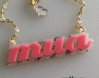 Sale MUA bubble gum n flowers laser cut necklace