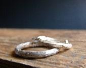 Wedding Ring Set Twig Band Rings Sterling Silver Rustic Weddings Botanical Jewelry