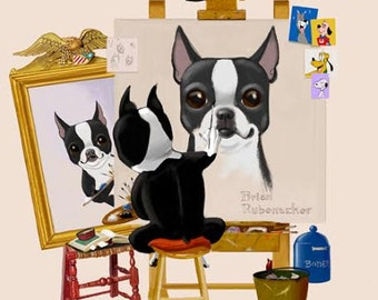 Boston Terrier Triple Self Portrait