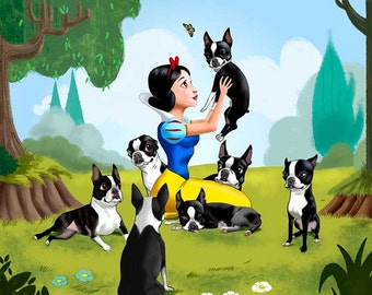 Canvas Snow White and the seven Boston Terriers