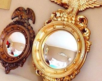 BULLSEYE...  Vintage Federalist Bullseye Convex Mirror Americana Industrial Decor Eagle