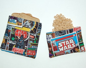 Eco Friendly Reusable Sandwich and Snack Bag Set - Handcrafted from Star Wars Fabric (Zipper or Velcro)