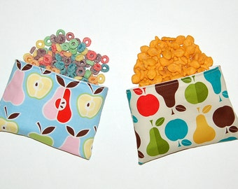 Apples and Pears - Set of 2 Reusable Snack Size Bags (Zipper or Velcro)