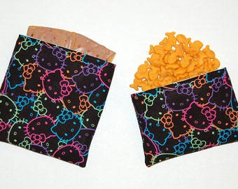 Eco Friendly Reusable Sandwich and Snack Bag Set - Handcrafted from Neon Hello Kitty Faces
